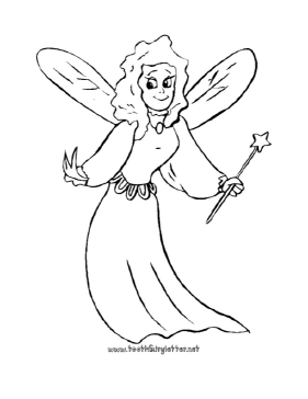 Smiling Fairy Coloring Page