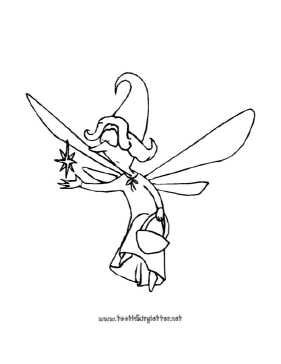 Surprised Fairy With Star Coloring Page