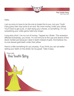 Tooth Fairy Apology Letter
