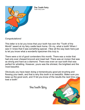 Tooth Fairy Letter Best Tooth Certificate