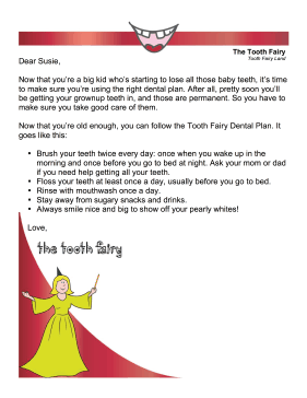 Tooth Fairy Letter — Dental Plan