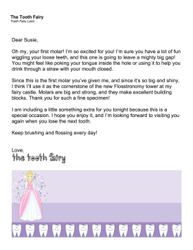 Tooth Fairy Letter First Molar