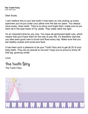 picture relating to Free Printable Tooth Fairy Letters named Printable Teeth Fairy Letter Previous Enamel