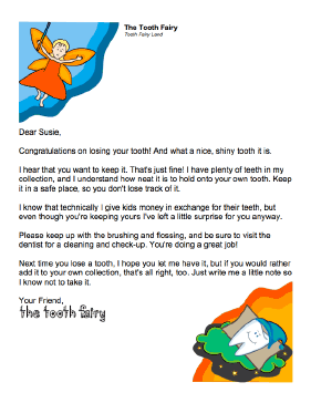 Tooth Fairy Letter — Letting Child Keep Tooth