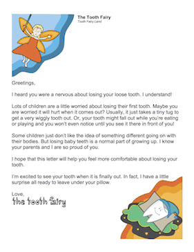 Letter for Child Scared to Lose Tooth