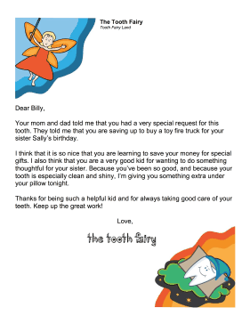 Tooth Fairy Letter — Special Allowance