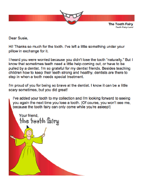 Tooth Fairy Letter — Tooth Pulled By Dentist