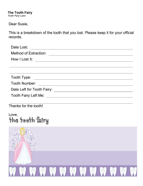 Tooth Fairy Letter — Tooth Record