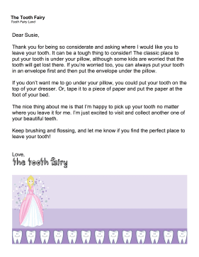 Tooth Fairy Letter Where To Leave Tooth