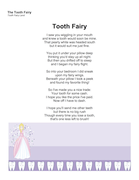 tooth fairy poem for first tooth