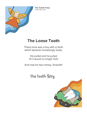 Printable Tooth Fairy Poem For Boy