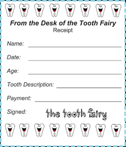 photograph regarding Free Printable Tooth Fairy Receipt referred to as Printable Teeth Fairy Receipt (4 for every webpage)